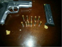 Pistol and ammunition retrieved from female