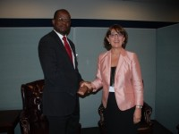 St. Kitts and Nevis' Minister of Foreign Affairs, the Hon. Patrice Nisbett (left) and his Georgian counterpart, Her Excellency Maria Panjikidze at the United Nations in New York.