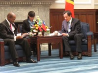 St. Kitts and Nevis' Prime Minister the Right Hon. Dr. Denzil L. Douglas (left) and President of the Republic of China (Taiwan), His Excellency Dr. Ma Ying-jeou during a courtesy call by the Prime Minister on Friday afternoon,