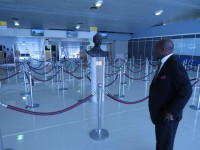 ime Minister the Right Hon. Dr. Denzil L. Douglas looks at the expansion at the Arrivals Hall of the Robert L. Bradshaw International Airport. (Photo by Erasmus Williams)