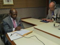 St. Kitts and Nevis' Prime Minister and Minister of Finance, the Rt. Hon. Dr. Denzil L. Douglas (left) and His Excellency Ambassador Mikael Barford in the Von Rebop Southwell studio at ZIZ Radio   (Photo by Erasmus Williams)
