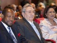 File photo of St. Kitts and Nevis' Prime Minister the Rt. Hon. Dr. Denzil L. Douglas (left), President of Cuba, His Excellency Raoul Castro (center) and Prime Minister of Trinidad and Tobago, the Hon.   Kamla Persad-Bissessar .