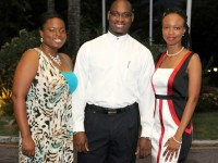 (left to right) - Ms. Cleon Ottley, Masters of Learning Science and Technology (also awarded the prestigious Australian Leadership Award Scholarship); Mr. Eavin Parry, Master of Environmental Management and Sustainability; and Ms. Thensia Grey, Master of Climate Change Adaptation/