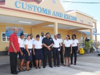 Mr Geoffrey Hanley, PEP Project Manager (extreme left), poses with some of the PEP workers attached to the Customs and Excise Department and Bird Rock. Acting Comptroller of Customs, Mr Georid Belle is standing fifth from right.