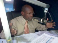 "St. Kitts and Nevis' Prime Minister the Rt. Hon. Dr. Denzil L. Douglas on Freedom 106.5 FM's ""Freedom Talk,"" on Wednesday night. (photo by Erasmus Williams)"