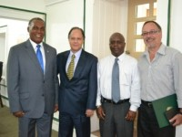 (L-R) Premier of Nevis Hon. Vance Amory, Brazilian Ambassador to St. Kitts and Nevis His Excellency Douglas Vasconcellos, Wakely Daniel Principal Assistant Secretary in the Premier's Ministry and Emilio Raro, Vice Consul of Brazil in St. Kitts and Nevis