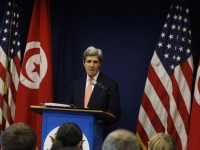 U.S. Secretary of State Kerry speaks during a news conference in Tunis