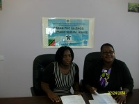 Sandra Maynard Director of Social Services in the Department of Social Services in the Ministry of Social Development on Nevis (l) and Anesta Maynard Acting Supervisor of Family Services in the Department of Social Services (r)