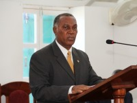 : Premier of Nevis Hon. Vance Amory at a sitting of the Nevis Island Assembly, Hamilton House on Samuel Hunkins Drive