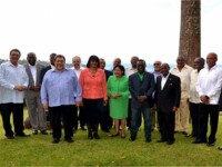 St. Kitts and Nevis' Prime Minister the Rt. Hon. Dr. Denzil L. Douglas (right in front row) with colleague Heads of Government at the 25th Intersessional Meeting of the Conference in St Vincent and the Grenadines.