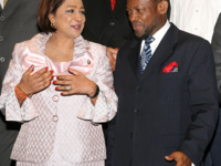 Photo: St. Kitts and Nevis' Prime Minister the Rt. Hon. Dr. Denzil L. Douglas (left) and his Trinidad and Tobago counterpart, the Hon. Kamla Persad-Bissessar