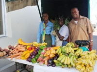Mrs Emontine Thompson (centre) at her sales outlet at the Charlestown Public Market, with the PS for Agriculture in the Nevis Island Administration Mr Eric Evelyn and the acting manager for Nevis branch of the Development Bank of St. Kitts and Nevis, Ms Hyacinth Pemberton.