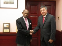 Mexico's Ambassador to St. Kitts and Nevis, His Excellency Luis Manuel Lopez Moreno (right) and St. Kitts and Nevis' Prime Minister the Rt. Hon. Dr. Denzil L. Douglas. (Photo by Erasmus Williams)