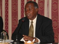 Premier of Nevis in the Nevis Island Administration, Hon. Vance Amory speaking at a joint town hall meeting organised by the Nevis Island Administration and the High Command of the Nevis Division of the Royal St. Christopher and Nevis Police Force on March 13, 2014 at the Red Cross Building