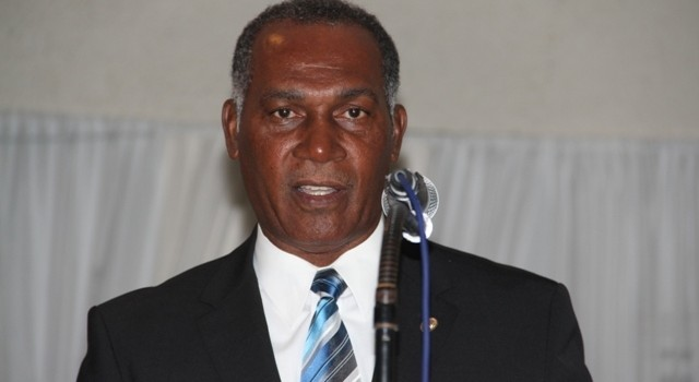Premier of Nevis Hon. Vance Amory delivering remarks at the 11th annual Police Constables Award Ceremony and Dinner of the Royal St. Christopher and Nevis Police Force, Nevis Division on March 01, 2014, at the Occasions Entertainment Arcade