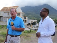(L-R) Newell Shanklin, Director of Construction at the Four Seasons Resort Estates, Nevis and Deputy Premier of Nevis and Minister of Tourism Hon. Mark Brantley on the construction site of the Villas at Pinneys Beach project