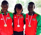 PHOTO - (L-R) Tahir Jefferson - Bronze medallist Boys U-20 High Jump, Kristal Liburd - Silver medallist Girls U-18 Long Jump and Adrian Williams - Bronze medallist Boys U-20 Javelin (Photo courtesy SKNAAA)