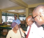 Douglas and Nisbett meeting the people at the market