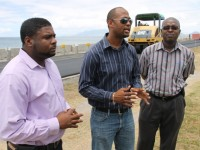 Junior Minister of Communication and Works Hon. Troy Liburd, Director of Public Works Diora Raul Pemberton and Permanent Secretary in the Ministry of Communication and Works Ernie Stapleton at the Samuel Hunkins Drive on April 04, 2014