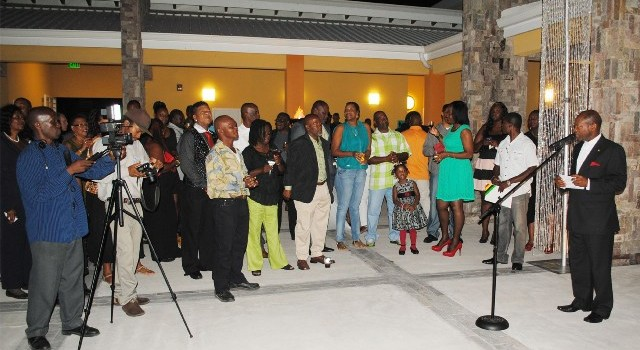 1: Prime Minister, the Rt Hon Dr Denzil Douglas addressing the PEP reception at the Nevis Performing Arts Centre (NEPAC).