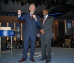 In this Erasmus Williams photo sees Former United States President the Hon. Bill Clinton (left) and St. Kitts and Nevis' Prime Minister the Rt. Hon. Dr. Denzil L. Douglas.