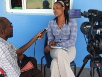 Det. Lyndita Powell being interviewed about M.A.G.I.C. after a session at the Tucker Clarke Primary School in 2012