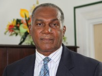 Premier of Nevis and Minister of Finance in the Nevis Island Administration Hon. Vance Amory delivering a statement at his Bath Plain Office on April 23, 2014