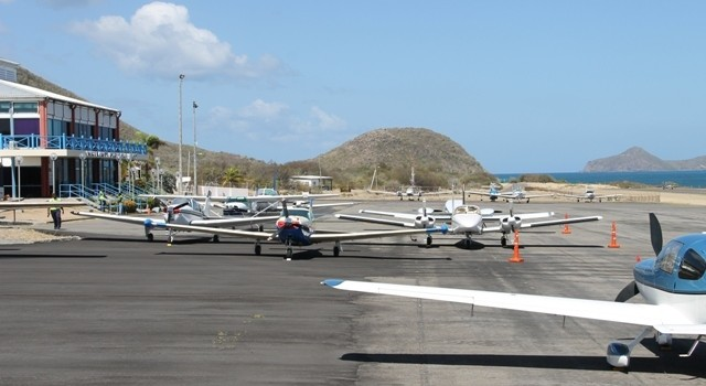 Aircrafts from the Aviation Connection's the Governor General's Cup 2014 Caribbean Air Rally at the Vance W. Amory International Airport on April 08, 2014