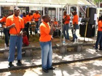 Members of the Rehabilitation Group Impression (RGI), a two-year-old band at Her Majesty's Prison in Basseterre, performing live in concert at the Memorial Square in Charlestown on April 25, 2014 as part of the Ministry of Social Development's Youth Month 2014 activities