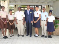 Minister of Tourism and Deputy Premier in the Nevis Island Administration, Hon Mark Brantley at the Mount Nevis Hotel with the participants of the 2014 Bank of Nevis Ltd. Tourism Youth Congress on April 24, 2014