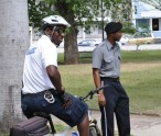 Members of the Royal St. Christopher and Nevis Police Force on patrol