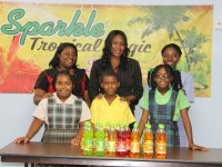 (l-r) Kaylan William and teacher Renee Anthony of the Charlestown Primary School, second place winner Tershean Wilkinson and teacher Trish Griffin of the St. Thomas Primary School, Destiny Lowe and teacher Cleanda Roberts of the Joycelyn Liburd Primary School at a brief ceremony hosted on May 29, 2014 at the TDC conference room located at Pinney's Estate