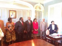 shows new Antigua and Barbuda Prime Minister the Hon. Gaston Browne and his Attorney General, the Hon. Stredroy