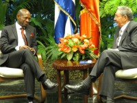 St. Kitts and Nevis' Prime Minister the Rt. Hon. Dr. Denzil L. Douglas (left) and President of Cuba, His Excellency Raoul Castro hold talks in Havana, Cuba.