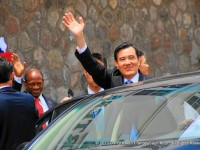Taiwan's President, His Excellency Ma Ying-jeou,(right), with St. Kitts and Nevis' Prime Minister the Rt. Hon. Dr. Denzil L. Douglas (left), waves to a crowd outside Government Headquarters in St. Kitts, after meeting with PM Douglas and signing a Memorandum of Understanding (MOU) during a recent visit. (Photo by Keethon France) __._,_.___