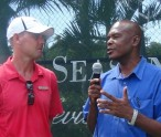 Curtis Morton--right interviews Tennis Pro--Chris Myrold--left
