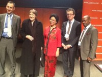 St. Kitts and Nevis' Prime Minister the Rt. Hon. Dr. Denzil L. Douglas (right) and former New Zealand Prime Minister the Rt. Hon. Helen Clark (second from left) among the panel at the 20th International AIDS Conference in Melbourne, Australia