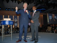 St. Kitts and Nevis' Prime Minister the Rt. Hon. Dr. Denzil L. Douglas (right) and former United States President, the Hon. Bill Clinton in New York last year. (Photo by Erasmus Williams)