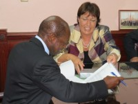 St. Kitts and Nevis' Prime Minister the Rt. Hon. Dr. Denzil L. Douglas (left) and New Zealand's High Commissioner to St. Kitts and Nevis Her Excellency Jan Henderson (Photo by Erasmus Williams)