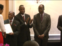 Left to Right) Awardee, Prime Minister the Rt. Hon. Dr. Denzil Douglas,  Minister of Education and Information Hon. Nigel Carty, Minister of Foreign Affairs Hon. Patrice Nisbett and  Resident Ambassador of the Republic of China (Taiwan) His Excellency Miguel Tsao.