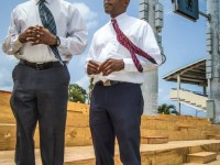 Minister Phillip (left) and Deputy Prime Minister Martin observe work in progress