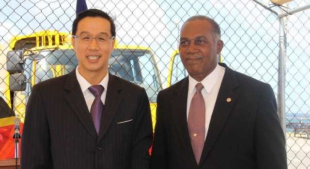 (L-R) Republic of China (Taiwan) Resident Ambassador to St. Kitts and Nevis His Excellency Miguel Tsao and Premier of Nevis Hon. Vance Amory