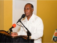 Premier of Nevis Hon. Vance Amory delivering remarks at a cocktail he hosted for the Culturama 40 contestants on July 16, 2014 at the Nevis Performing Arts Centre courtyard