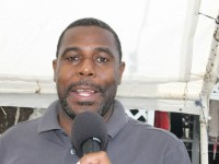 Sales and Marketing Director at the Nevis Tourism Authority, Devon Liburd at the annual Mango Madness Festival in Charlestown on July 11, 2014