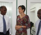 (L-R) Premier of Nevis and Minister of Education Hon. Vance Amory, Head of the UWI Open Campus in the Federation Mrs. Susan Sarah Owen and Permanent Secretary in the Premier's Ministry Wakely Daniel following a meeting at Bath Plain on August 26, 2014