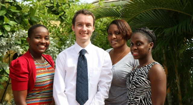 Photo shows British High Commission Head of Political Team Martin Robinson with (from left) Kimberley Evelyn, Kurlyn Merchant and Maria Farley