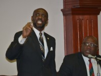 Hon. Sam Condor (left) and Hon. Dr. Timothy Harris, Deputy Leader and Leader of the People's Labour Party (PLP)