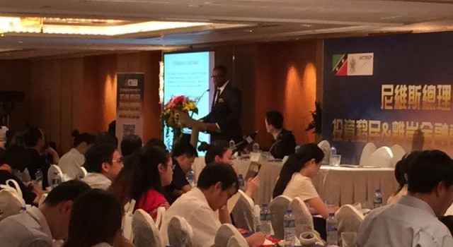 Deputy Premier of Nevis Hon. Mark Brantley addressing potential Chinese investors at a meeting in Hong Kong
