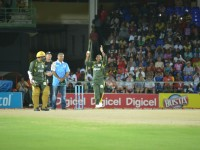 St. Kitts and Nevis' Prime Minister the Rt. Hon. Dr. Denzil L. Douglas bowling the first ball of the celebrity cricket match at St. Kitts' Warner Park Tuesday night.