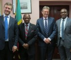 Mr. Martin Roos, CEO, LIME (Caribbean);  St. Kitts and Nevis' Prime Minister Rt. Hon. Dr. Denzil L. Douglas; Mr. Phil Bentley, CEO, Cable & Wireless, Miami and Mr. David Lake, General Manager, LIME (St. Kitts and Nevis).